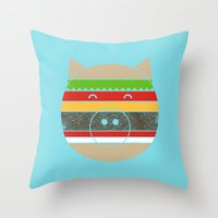 hamburger Throw Pillows featuring HAMburger by Hippos and Nuts - Caz King
