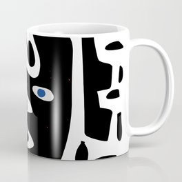 Minimal African Art Black and White Pattern Abstract  Coffee Mug
