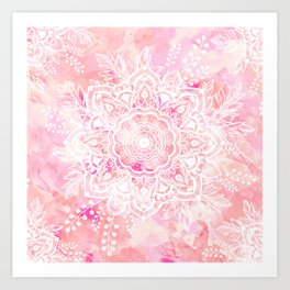 Queen Starring of Mandalas-Rose Art Print