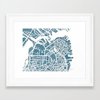 blueprint Framed Art Prints featuring Boston Blueprint by Anne E. McGraw
