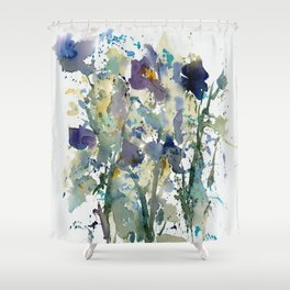 Iris Garden watercolor painting Shower Curtain