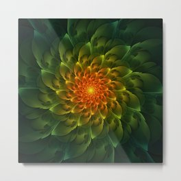 Beautiful Orange-Green Desert BarrelCactus Spiral Metal Print