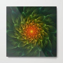 Beautiful Orange-Green Desert BarrelCactus Spiral Metal Print