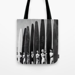 Surfers, Vintage Black and White Art Tote Bag