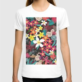 Botanical Flowers Colorful Pattern T-shirt