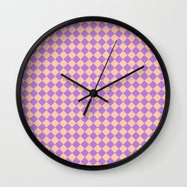 Deep Peach Orange and Lavender Violet Diamonds Wall Clock