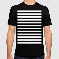 Horizontal Stripes (Black/White) Mens Fitted Tee Black MEDIUM