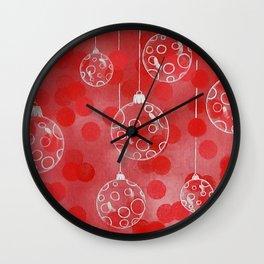Christmas Balls in Silver Wall Clock