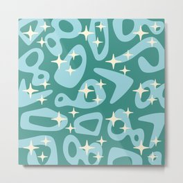 Retro Mid Century Modern Abstract Composition 821 Blue and Green Metal Print