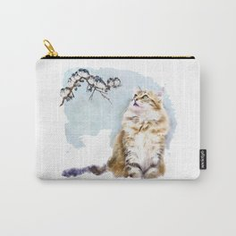 Cute Cat on the Lurk Watercolor Painting Carry-All Pouch