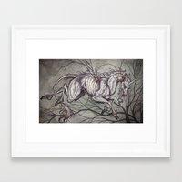 unicorn Framed Art Prints featuring Unicorn by Caitlin Hackett