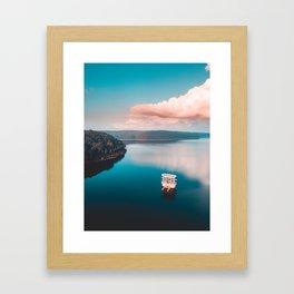 Pink Sunset Lake Framed Art Print