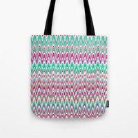 preppy Tote Bags featuring Making Waves Pink and Preppy by Shawn King