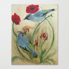 Waxwings Fox Poppy Canvas Print