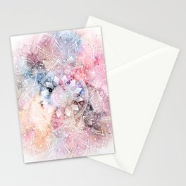 Whimsical white watercolor mandala design Stationery Cards