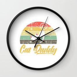 Retro Vintage Theme Cat Daddy Pet Animals Kitten Fountain Kittie Feline Claw Claws T-shirt Design Wall Clock