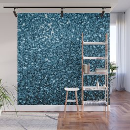 Beautiful Baby blue glitter sparkles Wall Mural