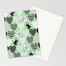 Hearts On Pastel Green - Abstract, black and white, geometric Stationery Cards