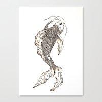koi fish Canvas Prints featuring Koi Fish  by nikart