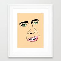 nicolas cage Framed Art Prints featuring Nicolas Cage  's Face by Froleyboy
