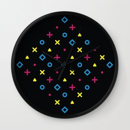 Diamond Pop Icons (CMYK on Black) Wall Clock