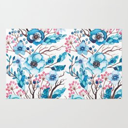 Hand painted blue pink brown watercolor floral berries Rug
