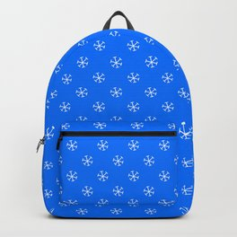 White on Brandeis Blue Snowflakes Backpack