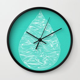 Water Drop – White on Turquoise Wall Clock