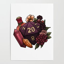 Sorcerer Class D20 - Tabletop Gaming Dice Poster