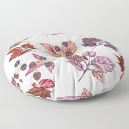 Autumn vector detailed leaves and berries Floor Pillow