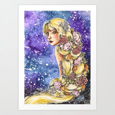 flowers in her hair Art Print