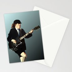 Low Polygon Portrait of Angus Young Stationery Cards