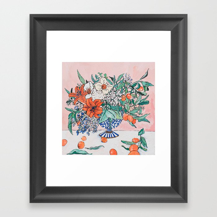 California Summer Bouquet - Oranges and Lily Blossoms in Blue and White Urn Gerahmter Kunstdruck
