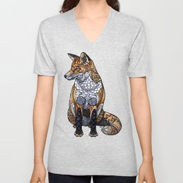Stained Glass Fox Unisex V-Neck