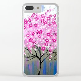 Pink Cherry Blossoms Clear iPhone Case