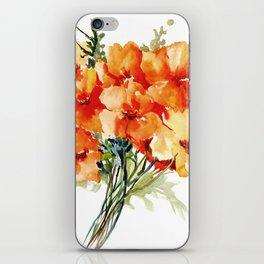 Californian Poppies, California Floral art soft colors iPhone Skin