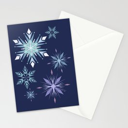 Midnight snowflakes pattern  Stationery Cards