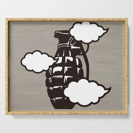 Grenade and clouds Serving Tray