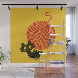 Fitz - Happiness (cat and yarn) Wall Mural