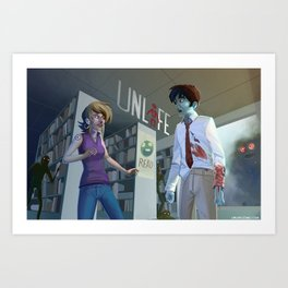 Unlife: Bloody Library Art Print