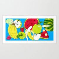 fruits Art Prints featuring fruits by Hobocats
