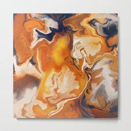 Digital fluid art #2 - Orange and blue shades Metal Print
