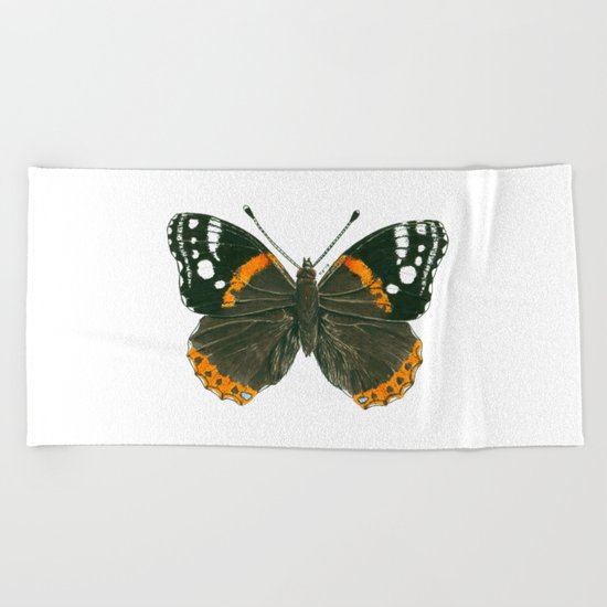 Admiral butterfly ink illustration Beach Towel