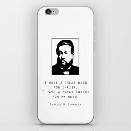 "Spurgeon Quote ""I have a great Christ"" iPhone Skin"