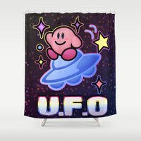 kirby Shower Curtains featuring Kirby UFO by likelikes