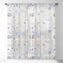 Shells - Yellow Purple Green - Casart Sea Life Treasures Collection Sheer Curtain