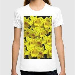 YELLOW SPRING KING ALFRED DAFFODILS ON BLACK T-shirt