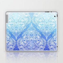 Out of the Blue - White Lace Doodle in Ombre Aqua and Cobalt Laptop & iPad Skin
