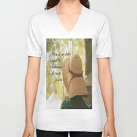 jane austen V-neck T-shirts featuring There is No Charm Jane Austen  quote by KimberosePhotography