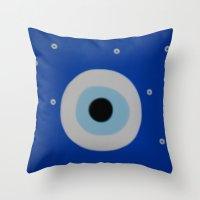 evil eye Throw Pillows featuring Evil Eye by S Joyce